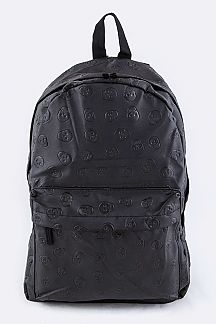 Skull Embossed Pattern PU Backpack