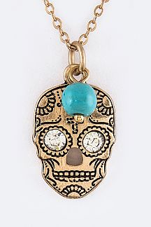 Crystal Eyed Sugar Skull Pendant Necklace Set