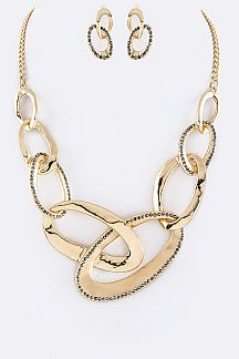Linked Hoops Statement Necklace Set
