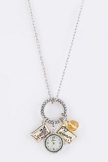 Peace & Dream Mix Charm Watch Pendant Necklace