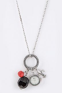 Fleur De Lis & Precious Stones Watch Pendant Necklace