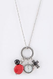 Precious Stones & Cross Pendant Watch Necklace