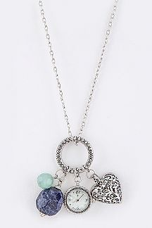 Precious Stone & Heart Watch Pendant Necklace