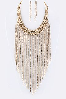 Layer Crystals Bib Necklace Set