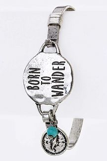 BORN TO WANDER Engraved Disk Hook Bangle