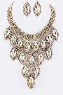 Marquise Crystals Statement Necklace Set