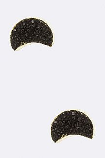 Druzy Crescent Stud Earrings