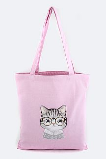 Dressed Cat Print Canvas Tote