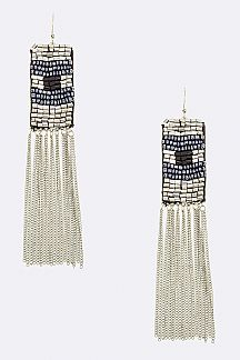 Beaded Sheet & Fringe Chain Earrings