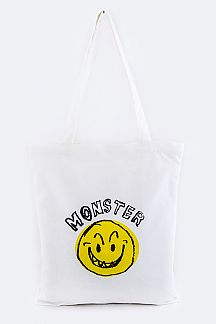 MONSTER Emoji Canvas Tote