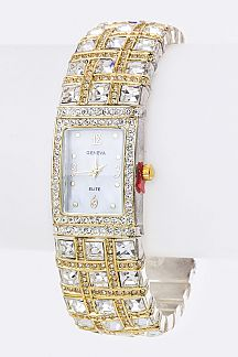 Pave Crystals Open Bangle Watch