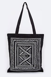 Tribal Print Canvas Tote