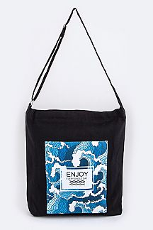 Wave Print Canvas Messenger Bag
