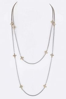 "56"" Crystal Star Blosom Station Necklace"