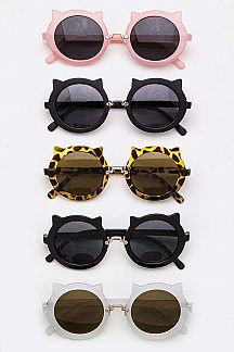 Cat Design Round Sunglasses