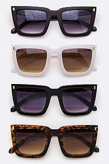 Metal Arrow Temple Square Sunglasses