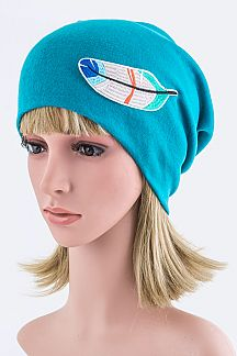 Feather Embroidery Patch Jersey Knit Beanie