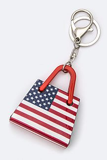 US Flag Hand Bag Key Charm
