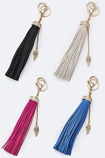 Leather Tassel & Leaf Key Charm