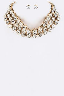 Crystals Layer Choker Necklace Set