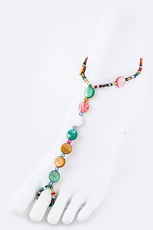 Bead & Shell Disks Stretch Barefoot Sandal