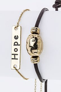 Hope Metal Tag Bracelets Set