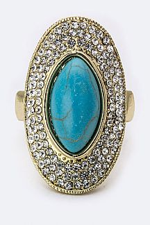 Pave Crystals & Turquoise Oval Ring