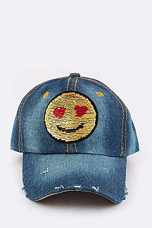 2 Tone Sequins Emoji Patch Cap