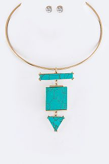 Mix Shaped Turquoise Stone Pendant Collar Necklace Set