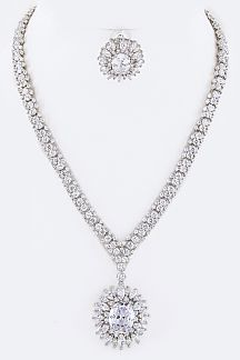 CZ Flower Pendant Necklace Set