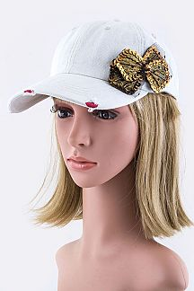 Bead & Sequins Bow Denim Cap