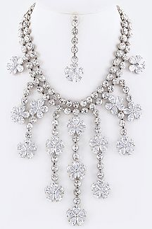 Fringed CZ Flower Statement Necklace Set
