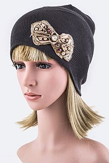 Pearl & Sequins Bow Beanie Hat