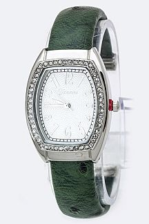 Crystal Bezel Open Bangle Watch