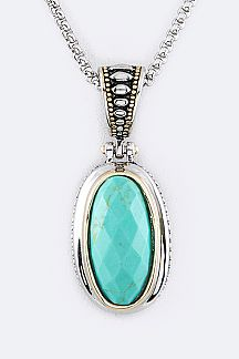 Oval Stone Designers Pendant Necklace