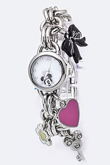 Minnie Mix Charms Chain Bracelet Watch