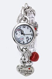 Snow White Mix Charms Chain Bracelet Watch