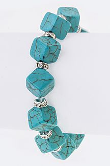 Crystal Hoop & Cubic Turquoise Stretch Bracelet