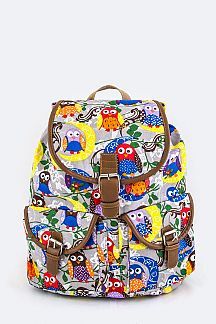Comic Owl Pattern Canvas Backpack