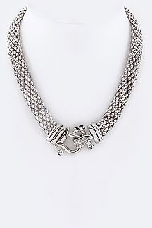 Iconic Crystal Hook Hinge Necklace