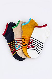 Anchor Stipes Contrast Fashion Socks