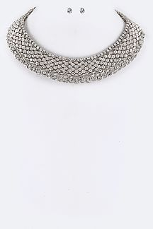 Layer Crystal & Chain Collar Necklace Set