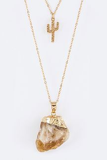 Metal Cactus & Quartz Pendants Layer Necklace Set