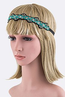Beaded Boho Turquoise Hairband
