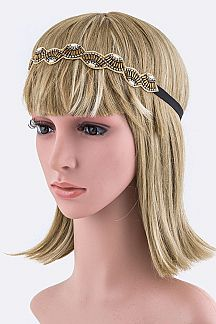 Crystal & Bead Fans Stretch Headband