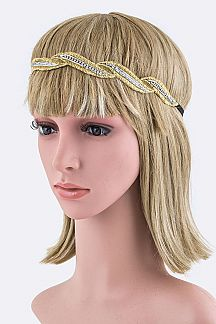 Lurex Thread Crystal Holiday Hairband