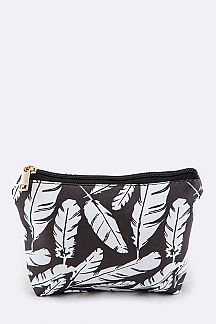 Feather Print Mini Pouch