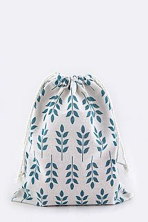 Leaf Print Canvas Pouch - M
