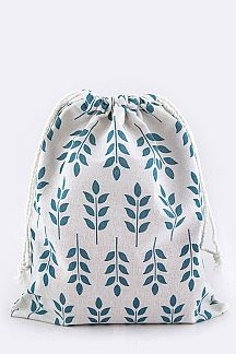 Leaf Print Canvas Pouch - L