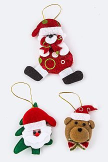 Santa & Teddy Bear Mix X'mas Ornaments Set
